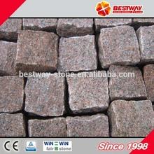 red granite blocks paving