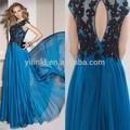 2015 nouveau Style européen Keyholes dos noir dentelle perles bleu Royal de mousseline de soie de soirée robes pour femmes voilées