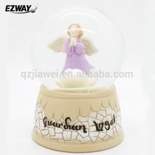 Resin home decor angel led snow globe on sale angel musical snow globe