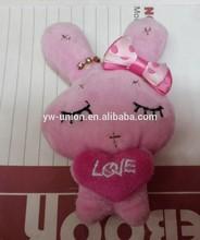 Custom assorted styles plush keychain toys, delicate rabbit toys