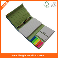 Color printing Combined sticky memo pad iwith pen, Neon PET index in holder