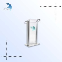 elegant design clear acrylic lectern, transparent lectern with printing
