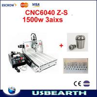 price cnc metal engraving machine 1.5KW 6040Z-S80 CNC Engraver 20 pcs Tungsten Rotary File/Burr + 3 pcs collet