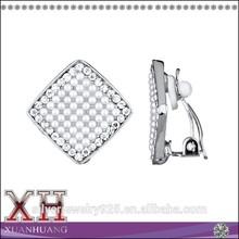 Silver Jewelry Market Place Silver Diamond Shape Simulated Pearl Rhinestone Earrings