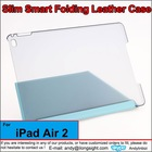 Smart Case Ultra-thin Transformer Folding Cover Case Transparent Back Cover for iPad air 2,Tablets Tri-fold PU leather case