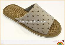 latest open toe soft jute mat slippers in brown for 2015 men