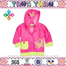 Lovely Pink Butterfly Waterproof PU Children Rain Mac