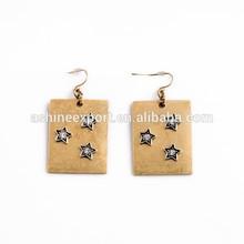 2015 fashion women earring for gold star board, metal crystal gold earrings for women