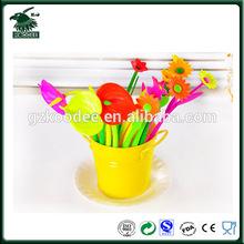 Hot sale promotional plastic flower pens,rubber desk flower pen
