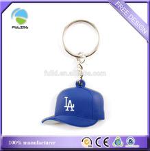 small quantity letters logo baseball cap hat soft pvc sports keychain