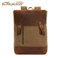 Unisex Genuine Leather Canvas Casual Backpack Rucksack Laptop Bag School Bookbag