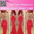 Beau rouge sirène, top en dentelle volants taille robe de soirée tendance pour les musulmans
