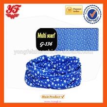 2015 Wonderful blue star print custom multifunctional headwear, seamless headband