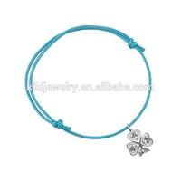 elegant popular antique silver plated shamrock of faith charm multicolor expandable waxed string fashion bracelet jewelry