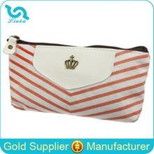 Trending Fashion Marine Style Orange Stripe Canvas Zipper Custom Pencil Bag For Students