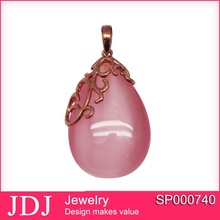 Unique china jewelry in silver wholesale charm 925 sterling silver pendant with rose cats eye stone in low price