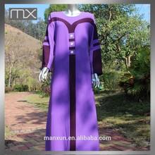 long sleeve muslim women dress purple arabic abaya wholesale moroccan kaftan for women