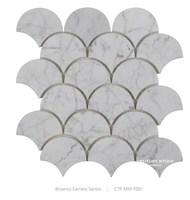 Beautiful Mosaic Patterns Bianco Carrara Marble White Fan Shaped Fish Scale Mosaic Tile