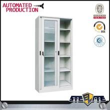 Moderno in metallo e vetro scaffale/steel libreria con chiusura porte in vetro