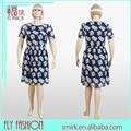 L25102# 2015 verão elegante impressão super plus size vestido roupas para mulheres gordas