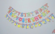 Happy Birthday Banner And Curtain For Girl Baby Shower
