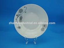 Ceramics porcelain turkey soup deep plate,black flower printed dish plate,ceramic plate machine