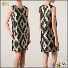 ladies fashion sleeveless Geometric printed straight cut dresses