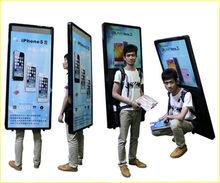 LED backpack billboard, outdoor walker light box, advertisement board human