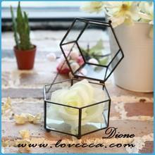 factory price clear glass diamond indoor plant terrarium for home decro