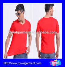 New Spandex Cotton Short Sleeve Man Tshirt/Wholesale Custom red plain Spandex Man Shirt
