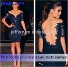 2015 sexy club dress blue lace v neck bodycon dress transparent mesh patchwork midi dress A628