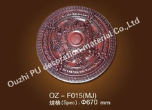 ancient Europe style PU material plastic wooden color ceiling medallion