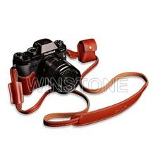 leather cameras case,fujifilm camera case,simple black half leather camera case bag