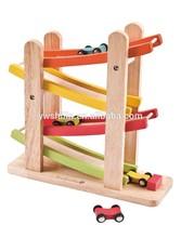 2015 new design wooden toys little race car tracks for kids