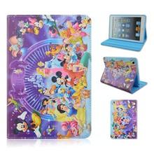 Disneyland Park TPU+PU Leather Case For Apple iPad 2/3/4,Cartoon Folio Stand Cover For iPad air 1/2, For ipad mini 1/2/3