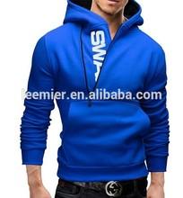 Plain slim fit blank zip up hoodies wholesale men half zip sweatshirts