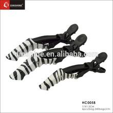 Popular style high quality plastic hair cutting crocodile salon animal printed zebra crocodile clip for hairdressing