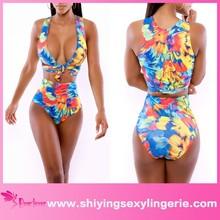 2015 bikinis Neon Tropics Wrap Swimsuit Lingerie neoprene bikini