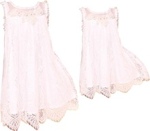 2014 new fashion mother and chidren summer sleeveless white lace dress,family fitted dress with sheer panels