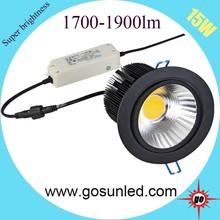 super bright 120lm/w cob led downlight 15w black housing