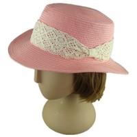 Ladies Pink Lace Paper Straw Hat