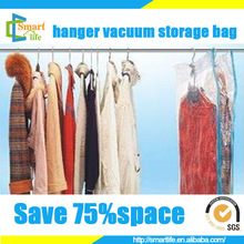 space saver plastic hanging vaccum bag for Down jacket coat