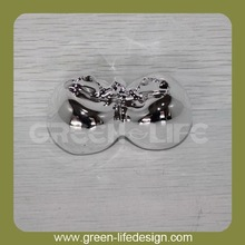Silver ceramic double decoration apple for Christmas