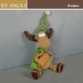 venta caliente de regalo de navidad 12 pulgadas lindo decorativo de navidad renos con trineo de madera