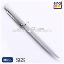 small MOQ snowwhite shiny plastic metal cheap ballpoint pen