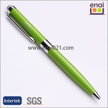 twist type stylus touch pendesign for smart phone or ipad green with sliver head touch pen