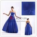 3201 simples off shoulder backless uma linha ruffle vestido longo moda azul royal vestido de baile
