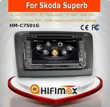 Hifimax car dvd gps navigation system FOR SKODA Superb WITH A8 CHIPSET DUAL CORE 1080P V-20 DISC WIFI 3G INTERNET DVR