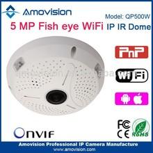 Amovision fisheye P2P 2560*1920 QP500W Wifi digital 128G SD Card onvif IR dome ip security system camera