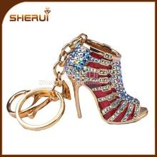 New fashion gold metal High-heeled shoes rhinestone crystal key chain